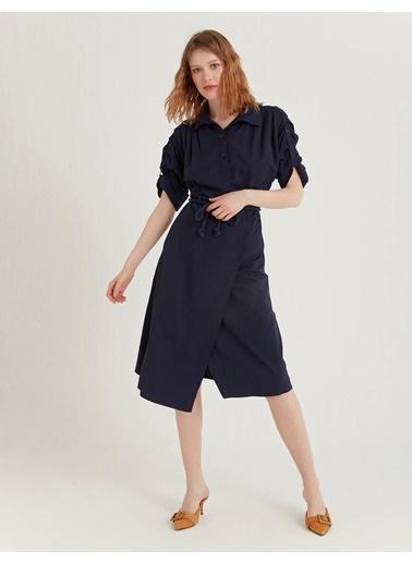 BGN Lacivert - Halat Kemerli Gömlek Elbise Lacivert